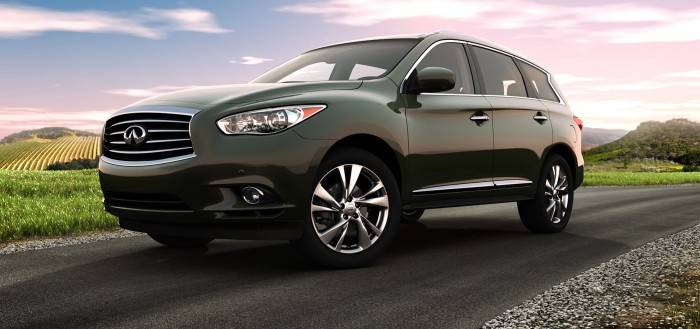 2014-Infiniti-QX60-Crossover-black-car-front-road