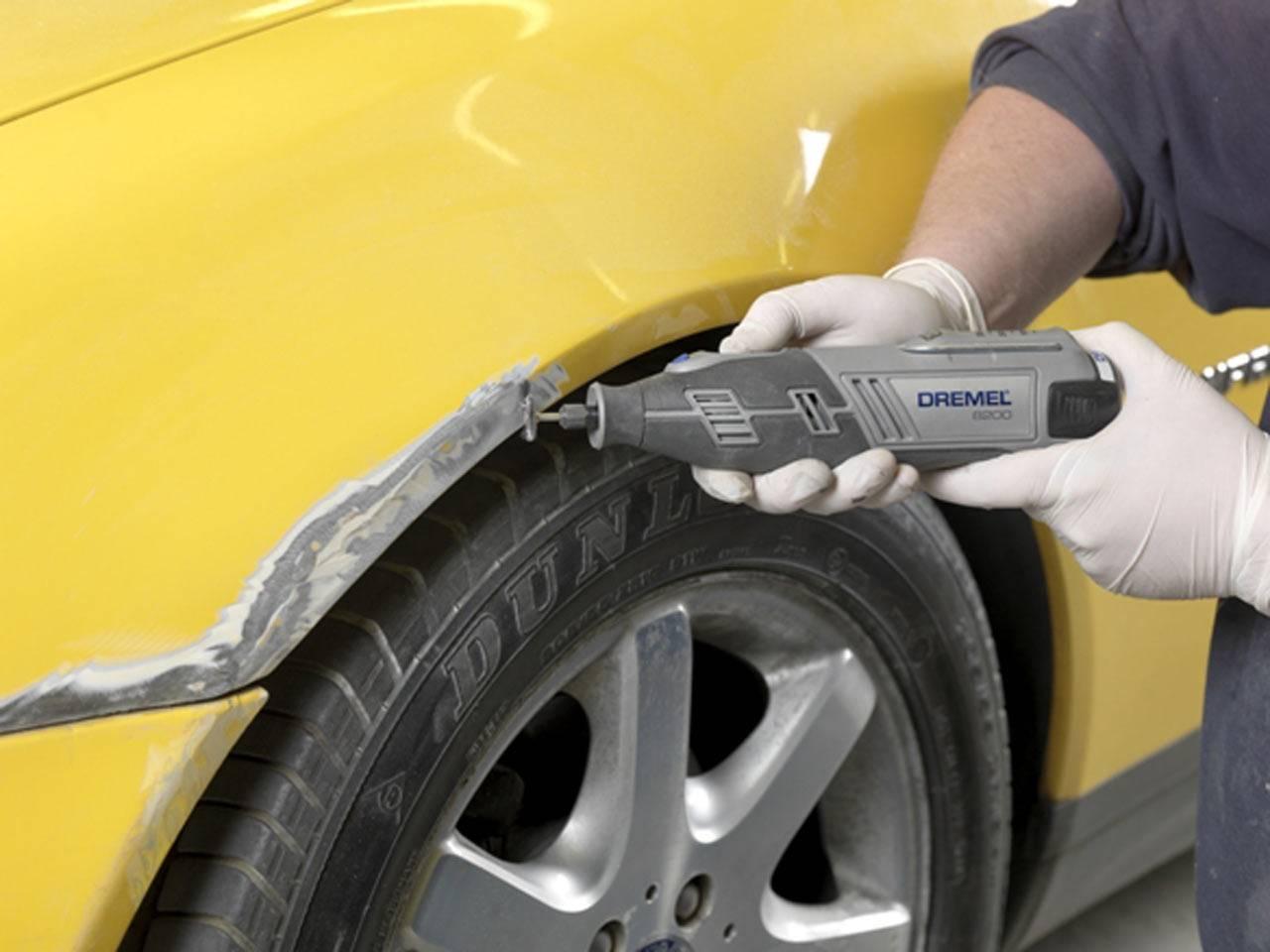 Обработка ржавчины на кузове автомобиля перед покраской