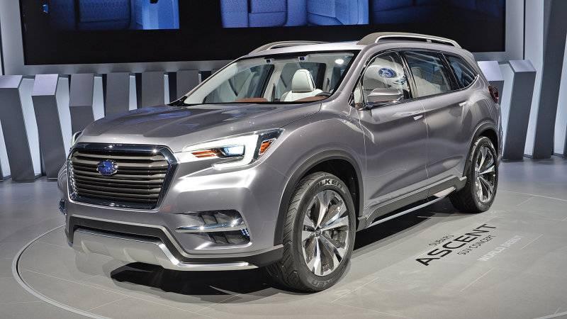 В Нью-Йорк Subaru привезла готовую для запуска в производства модель Ascent , которая основывается на базе прототипа Viziv-7.